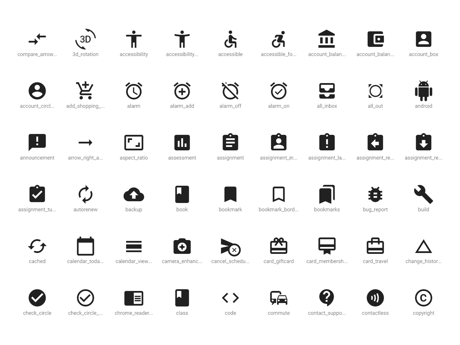 Material Icons のアイコン一覧